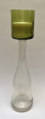 Tall Clear & Pale Green Wine Bottle Candelabra