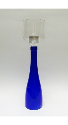 Blue & Clear Wine Bottle Candelabra  Image 1