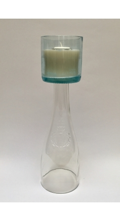 Loire Valley Clear and Pale Blue Wine Bottle Candelabra Image 1